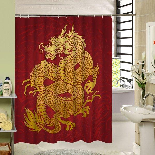 Powerful Golden Dragon Printing Bathroom Waterproof Shower Curtain