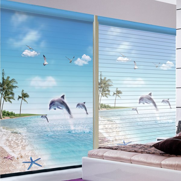 Vivid Dolphin Jumping out of Water Printing 3D Shangri-La Blinds & Roller Shades
