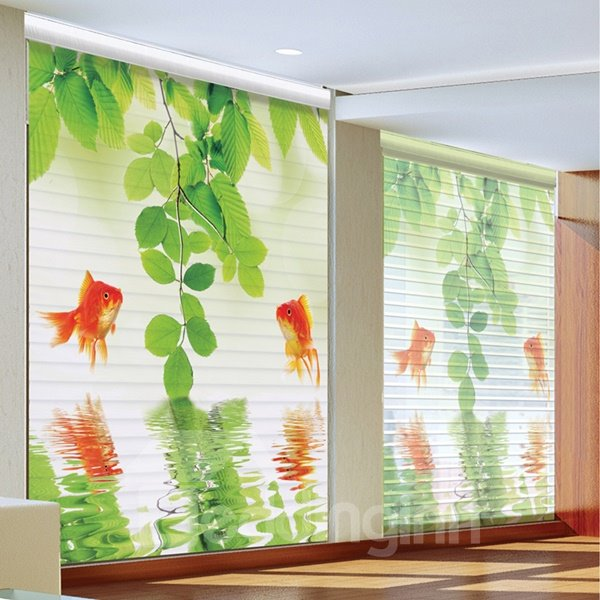 Couple Goldfish Jumping Out Of The Water Printing 3d Shangri-la Blinds & Roller Shades