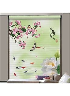 Beautiful Pond Scenery of Spring Printing Shangri-La Blind & Roman Shades