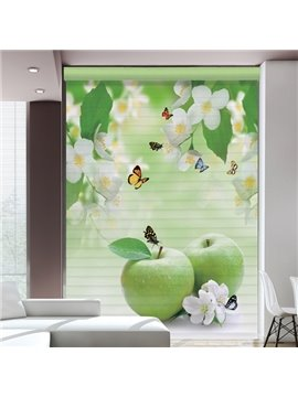 Delicious Green Apple Printing Polyester Shangri-La Blind & Roller Shades
