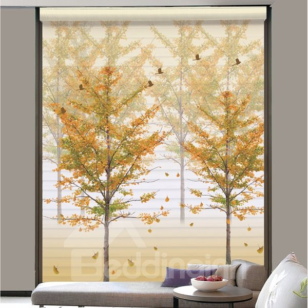 Beautiful Yellow Tree Printing Polyester 3D Shangri-La Blinds & Roller Shades