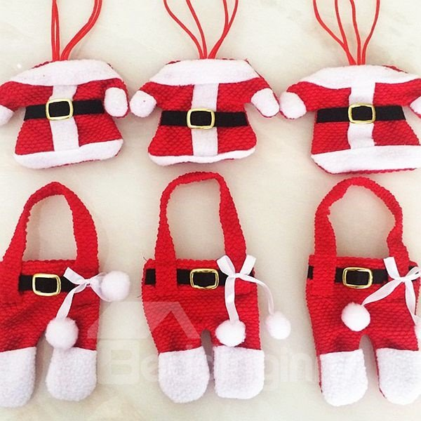 Festival Christmas Decoration Cloth of Santa Claus Pattern Cutlery Covers