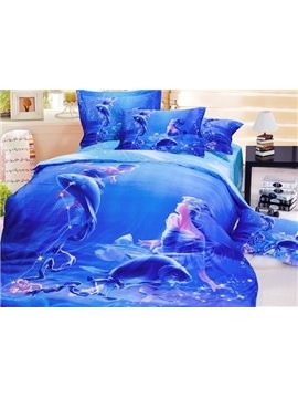 Super Cool 3D Pisces Printed 4-Piece Cotton Duvet Cover Sets