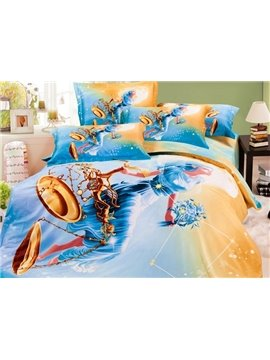 Beautiful Libra Print 4-Piece Cotton Duvet Cover Sets