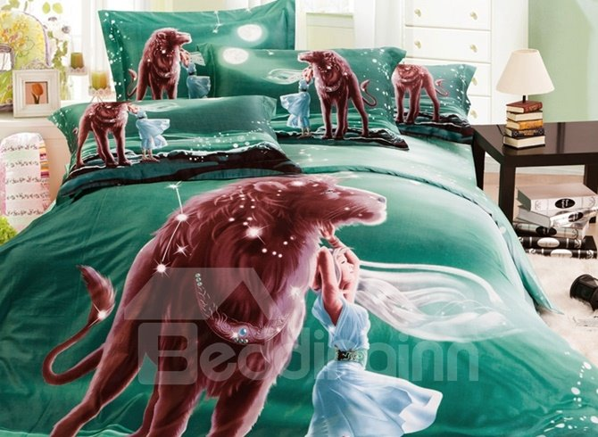 100% Cotton Leo Print 4-Piece Cotton Duvet Cover Sets