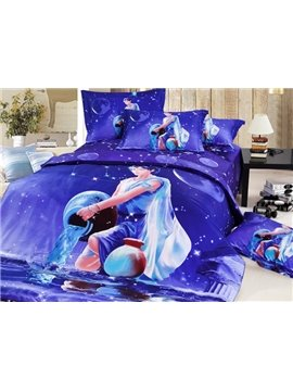 Amazing Aquarius 4-Piece 3D Printed Cotton Duvet Cover Sets