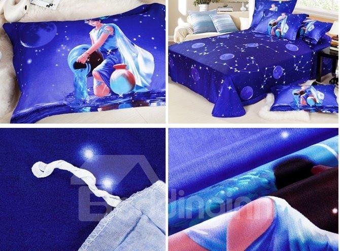 Amazing Aquarius 4-Piece 3D Printed Cotton Duvet Cover Sets