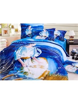 Mystic Blue Virgo 3D Printed 4-Piece Cotton Duvet Cover Sets