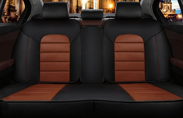 Classic Layered Design With Contrast Color Leather Universal Car Seat Cover