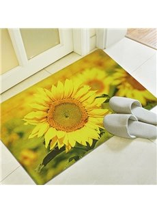 Vivid Golden Sunflower Printing 3D Skid Resistance Bath Rug