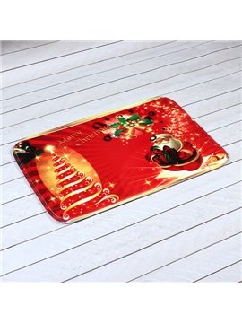 Merry Christmas Theme 3D Printing Anti-Skidding Bath Rug
