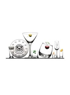 Transparent Plate and Cup Needle and Digital Sticker Wall Clock