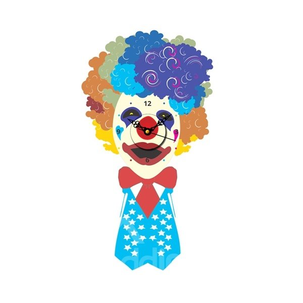 Creative Colorful Clown Shape Needle and Digital Sticker Wall Clock