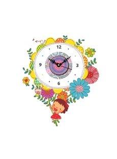 Cartoon Girl and Flower Pattern Needle and Digital Sticker Wall Clock