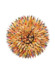 Colorful Pencils Pattern Needle and Digital Sticker Wall Clock