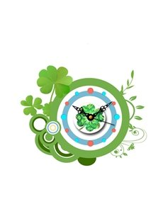 Fresh Clover Pattern Needle and Digital Sticker Wall Clock
