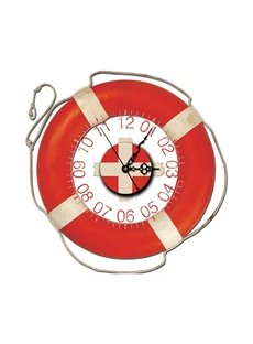 Red Creative Swimming Ring Shape Decorative Wall Clock