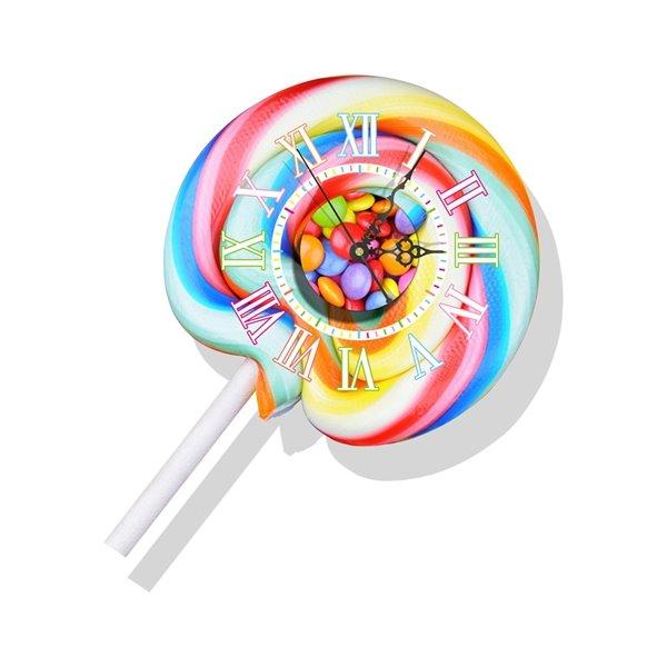 Decorative Colorful Lollipop Pattern Needle and Digital Sticker Wall Clock