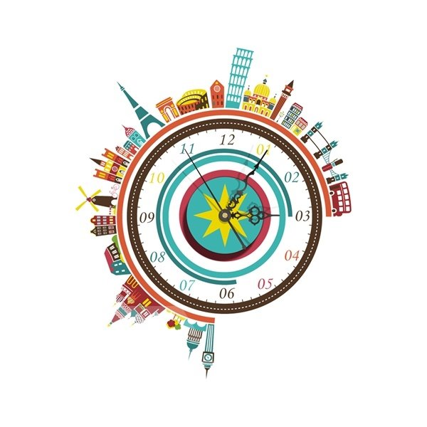 Wonderful World Building Pattern Needle and Digital Sticker Wall Clock