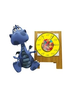 Cartoon Dinosaur Pattern Needle and Digital Sticker Wall Clock