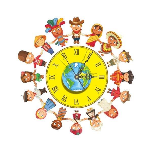 Cartoon Boys and Girls Hand in Hand Needle and Digital Sticker Wall Clock