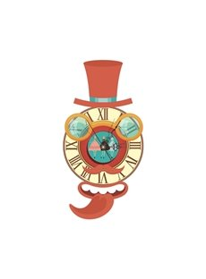 Cute Cartoon Figure Shape Needle and Digital Sticker Wall Clock