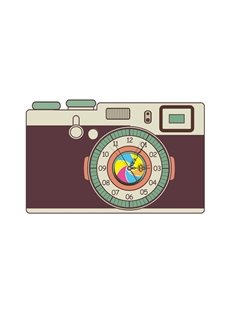 Modern Design Camera Pattern Needle and Digital Sticker Wall Clock