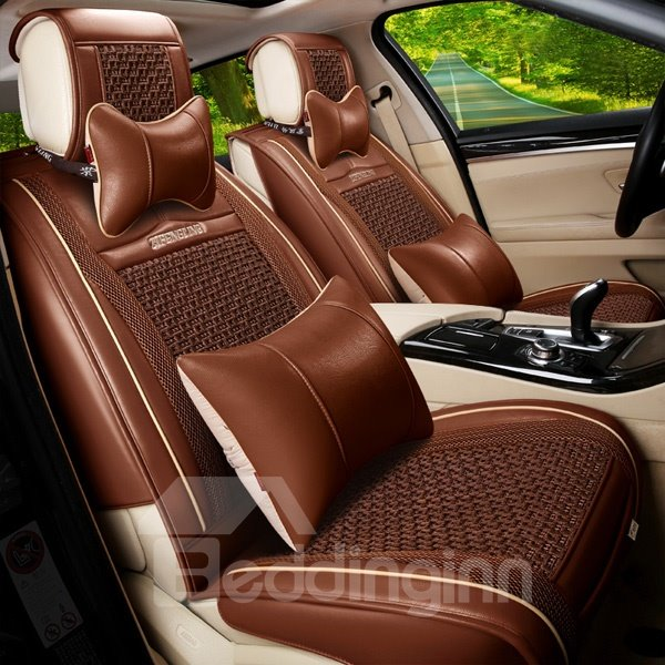 High-Grade Leather With Cool Ice Silk Eco-Friendly Material Universal Car Seat Cover