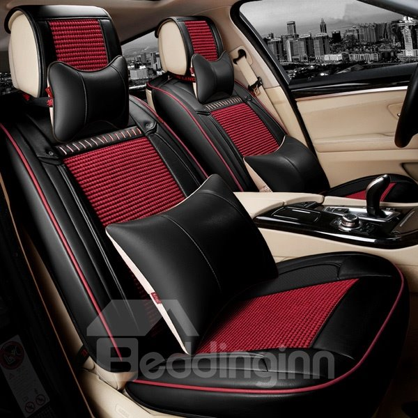 Classic Leather With Cool Ice Silk Mixed Universal Car Seat Cover