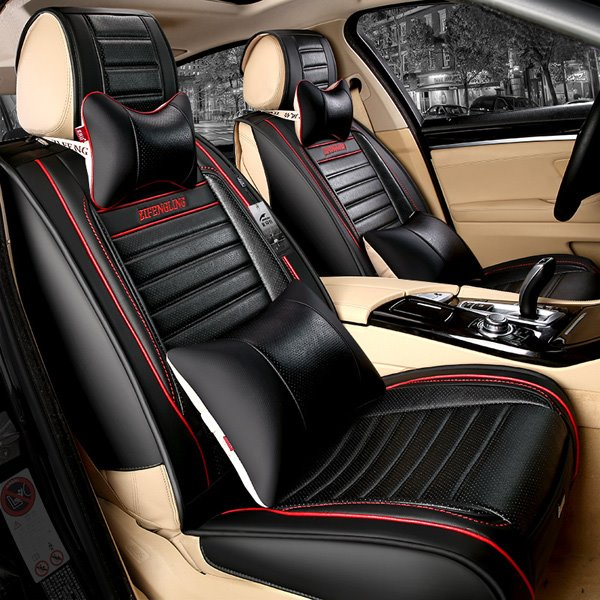Most Popular Sport Style PU Leather Contrast Color Universal Car Seat Cover