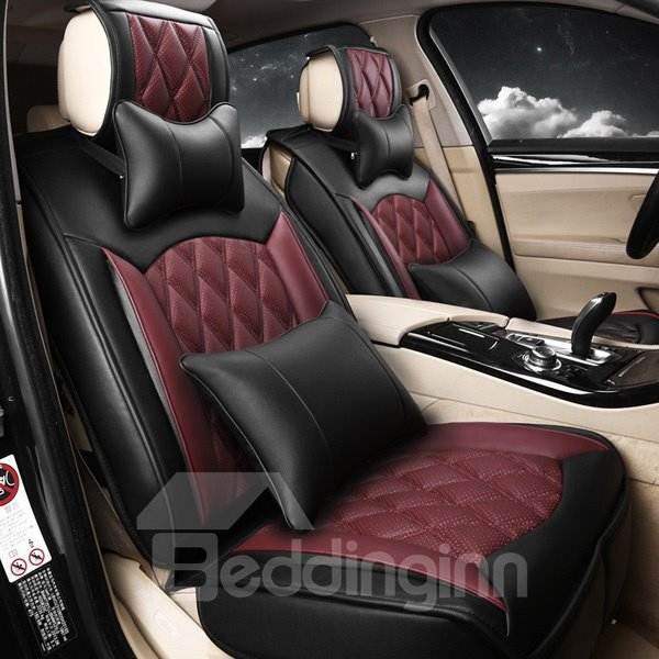 Dynamic Plaid Red Wine With Grid Attractive Car Seat Cover