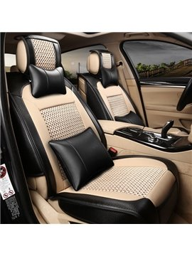 Matching Interior Perfect High-Grade Mixed Leather And Ice Silk Universal Car Seat Cover
