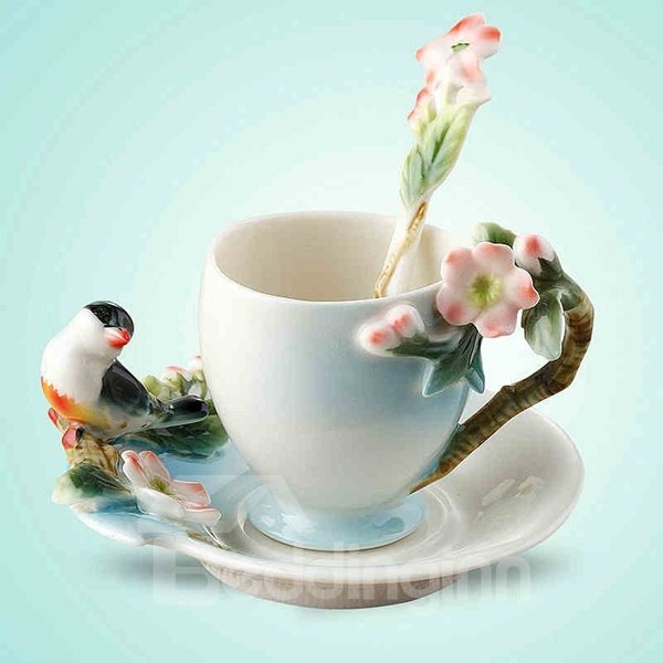 Delicate Ceramic Flower and Bird Pattern Cup Set Painted Pottery 12251028