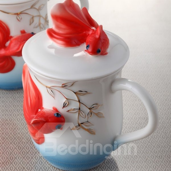 Amazing Ceramic Goldfish Pattern Cup Painted Pottery 12251029