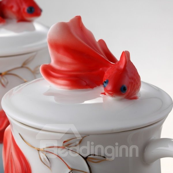 Amazing Ceramic Goldfish Pattern Cup Painted Pottery