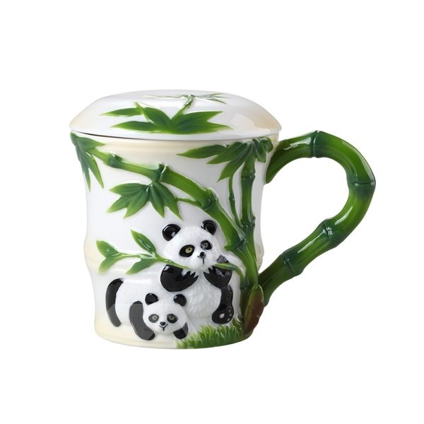 Unique Design Panda and Bamboo Pattern Cup Painted Pottery 12251031