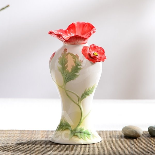 Fresh Ceramic Flower Pattern Flower Vase Painted Pottery