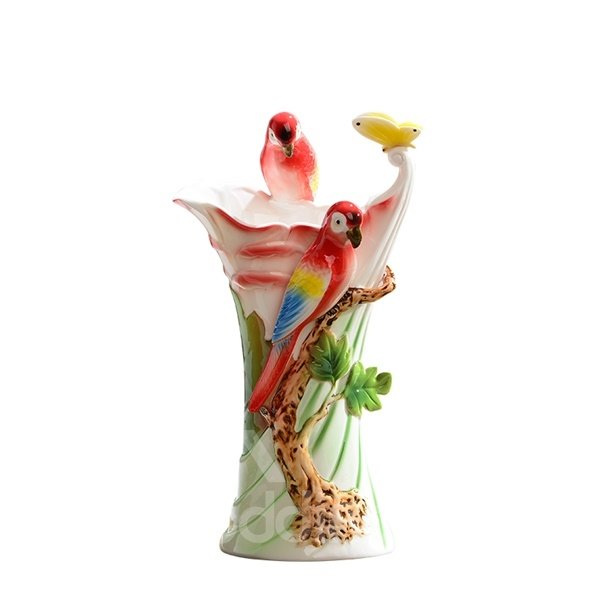 Amazing Ceramic Tree Birds Pattern Flower Vase Painted Pottery 12251037
