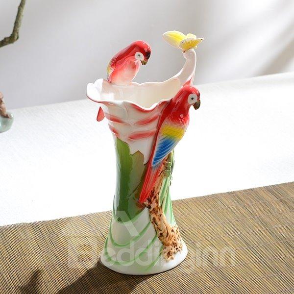 Amazing Ceramic Tree Birds Pattern Flower Vase Painted Pottery
