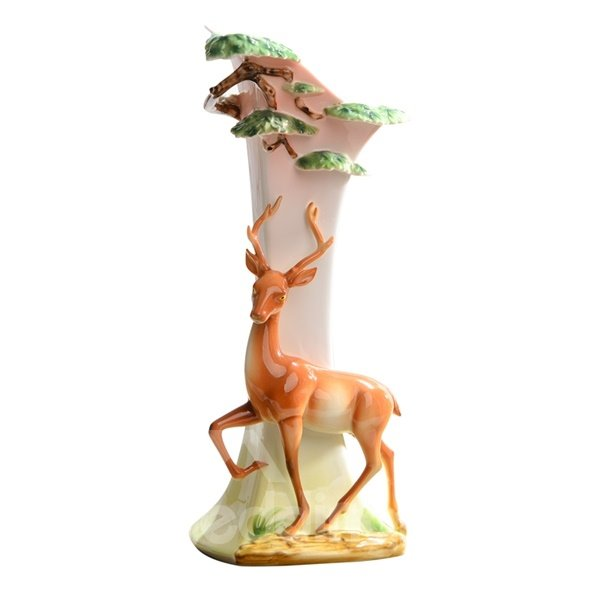Gorgeous Ceramic Deer Pattern Flower Vase Painted Pottery