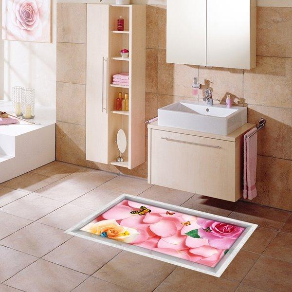 Pink Roses Pattern Slipping-Preventing Water-Proof Bathroom 3D Floor Sticker