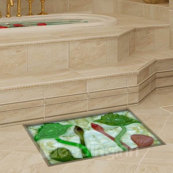 Rectangle Green Lotus Pattern Slipping-Preventing Water-Proof Bathroom 3D Floor Sticker
