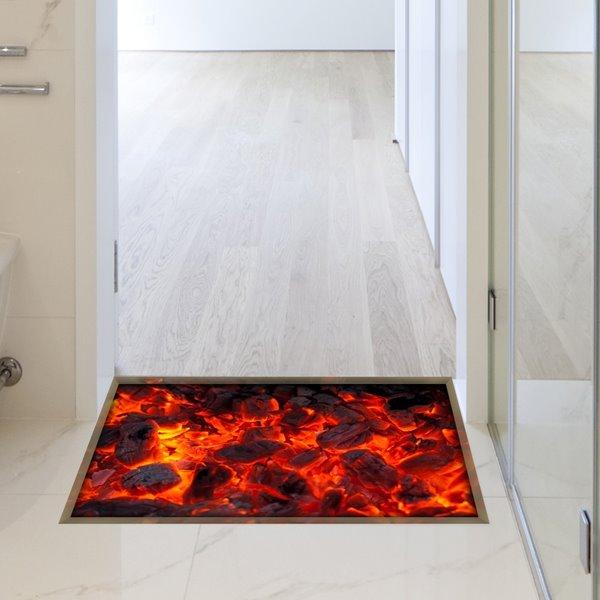 Modern Design Red Flame Slipping-Preventing Water-Proof Bathroom 3D Floor Sticker