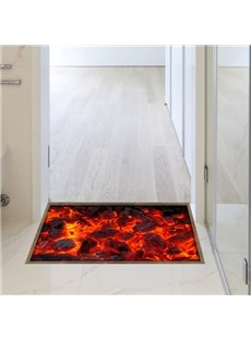 Modern Design Red Flame Slipping-Preventing Water-Proof Bathroom 3D Floor Sticker