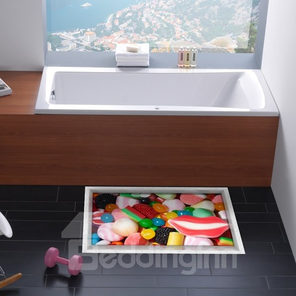 Colorful Candies Pattern Slipping-Preventing Water-Proof 3D Floor Sticker