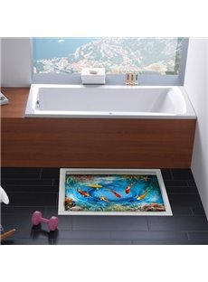 Creative Fish in Blue Water Slipping-Preventing Water-Proof 3D Floor Sticker