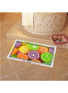 Colorful Delicious Cake Slipping-Preventing Water-Proof 3D Floor Sticker