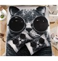 Cool Cat with Sunglasses Print Coral Fleece 4-Piece Duvet Cover Sets