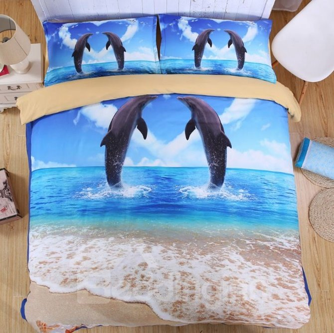 Vigorous Dolphin 3D Printed 4-Piece Duvet Cover Sets